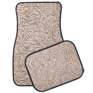 Sand Beige Color Vintage French Scrollwork Car Mat