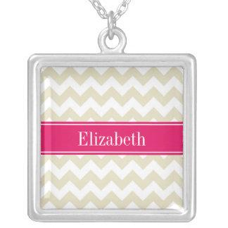 Sand Beige White Chevron Raspberry Name Monogram Square Pendant Necklace
