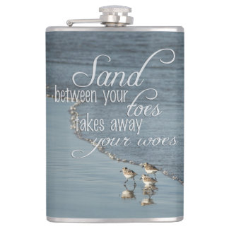 Sand Between Your Toes Beach Quote Hip Flask