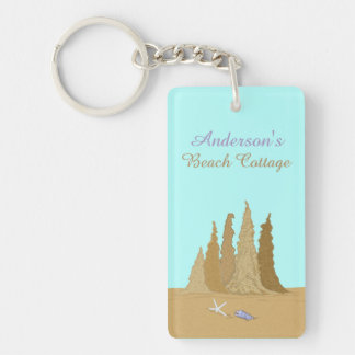 Sand Castle Beach Cottage Family Name Key Ring