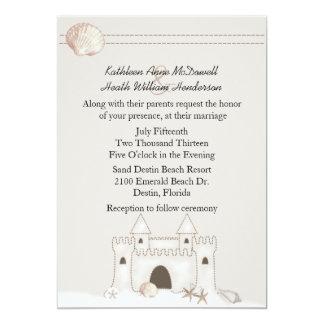 Sand Castle Beach Theme Wedding Card