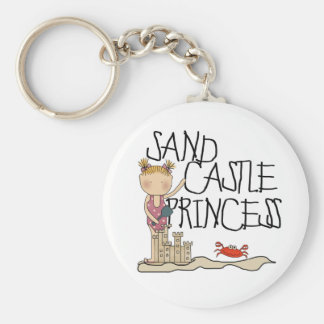 SAND CASTLE PRINCESS BASIC ROUND BUTTON KEY RING