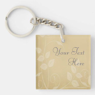 Sand Color Vintage Hearts Single-Sided Square Acrylic Key Ring