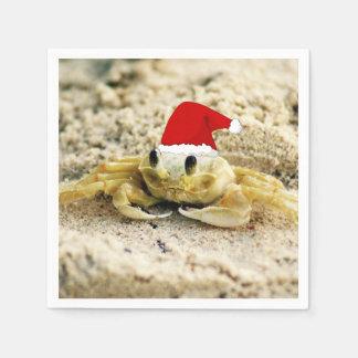 Sand Crab in Santa Hat Christmas Disposable Napkins