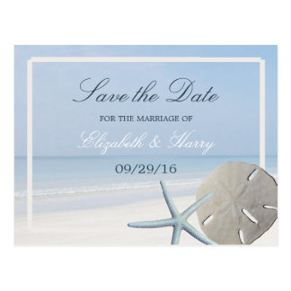 Sand Dollar and Starfish Beach Save The Date Postcard