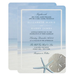 Sand Dollar and Starfish Beach Wedding Card