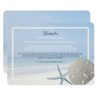 Sand Dollar and Starfish Beach Wedding Detail Card