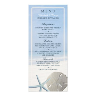 Sand Dollar and Starfish Beach Wedding Menu Rack Card