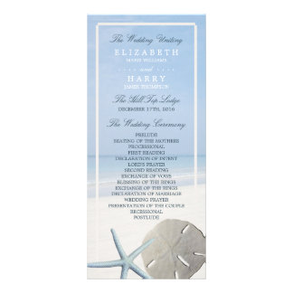 Sand Dollar and Starfish Beach Wedding Program Custom Rack Cards