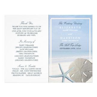 Sand Dollar and Starfish Beach Wedding Program Flyer