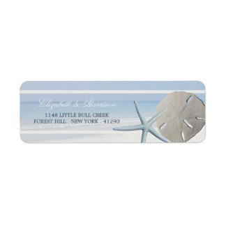 Sand Dollar and Starfish Beach Wedding Return Address Label