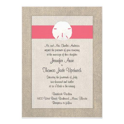 Sand Dollar Beach Wedding Invitation - Coral