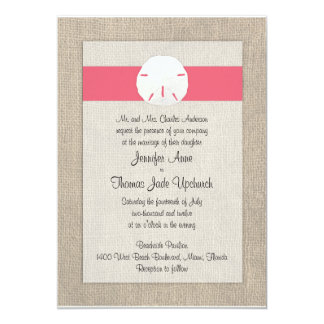 Sand Dollar Beach Wedding Invitation - Coral