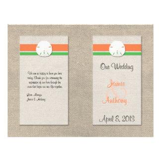 Sand Dollar Beach Wedding Program - Orange & Green 21.5 Cm X 28 Cm Flyer
