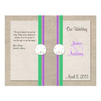 Sand Dollar Beach Wedding Program - Purple Green 21.5 Cm X 28 Cm Flyer