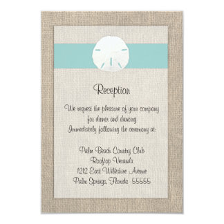 Sand Dollar Beach Wedding Reception Card