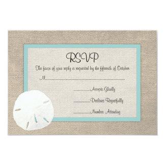Sand Dollar Beach Wedding RSVP card 9 Cm X 13 Cm Invitation Card