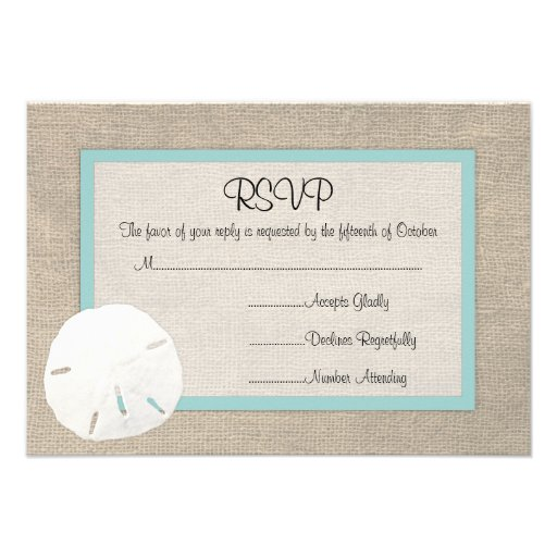 Sand Dollar Beach Wedding RSVP card Personalized Invitation