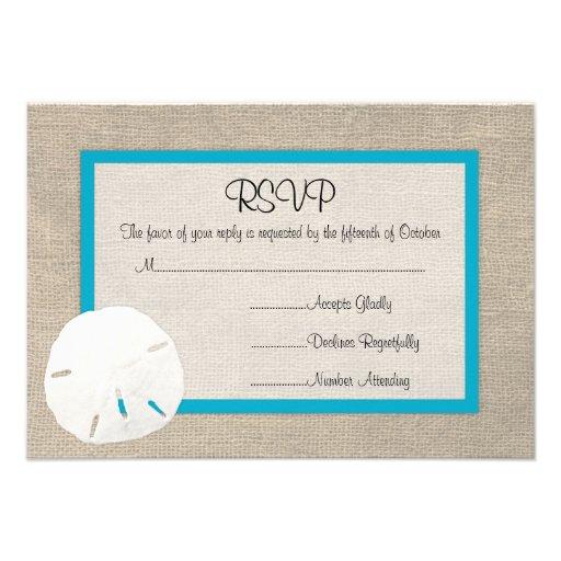 Sand Dollar Beach Wedding RSVP card Malibu