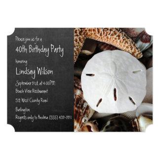 Sand Dollar Chalkboard Birthday Party Invitation
