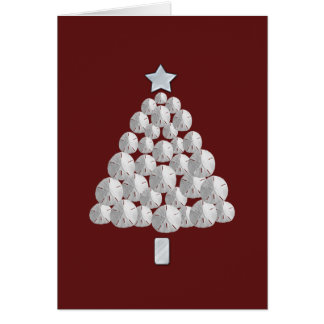 Sand Dollar Christmas Tree (red) Card
