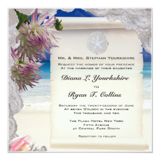Sand Dollar & Lace Tropical Invitation