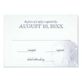 Sand Dollar Navy Blue Wedding RSVP Card