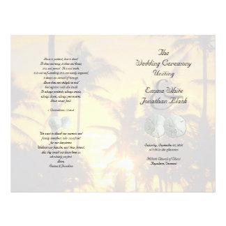 Sand Dollar Palm Trees Christian Ceremony Program Flyer