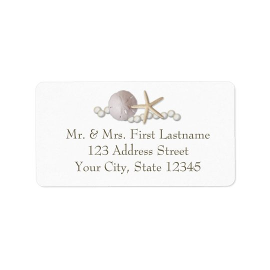 Sand Dollar Pearls and Lace Address Label