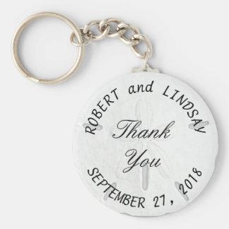 Sand Dollar Round Wedding Key Chain Favors Basic Round Button Keychain