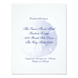 Sand Dollar Royal Blue Wedding Reception Card