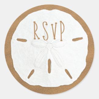 Sand Dollar RSVP Envelope Seal Round Sticker