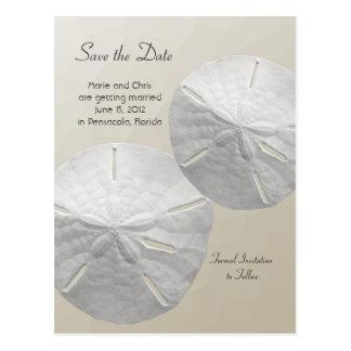 Sand Dollar Save the Date Beach Theme Wedding Postcard