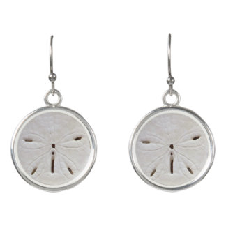 Sand Dollar Sea Shell Dangle Earrings