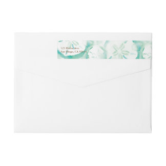 Sand Dollar Seafoam Wrap Around Label Wraparound Return Address Label