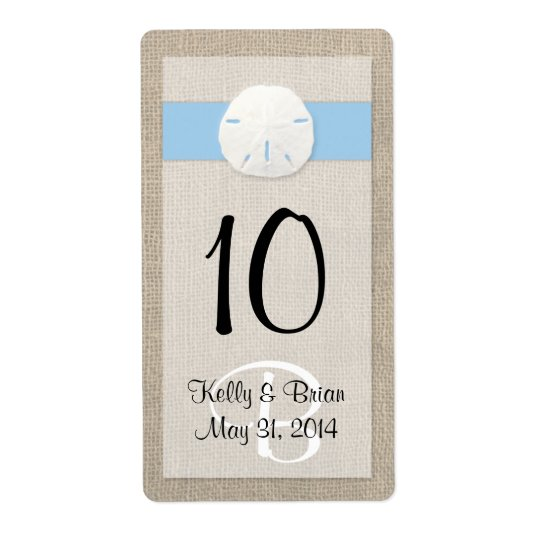 Sand Dollar Sky Blue Wine Bottle Label Shipping Label