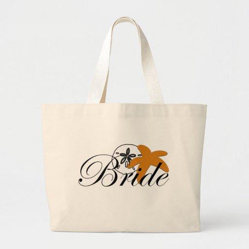 Sand Dollar Starfish Bride Tote Bags