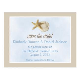 Sand Dollar & Starfish Save the Date Postcard