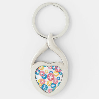 Sand Dollar Yellow Red Blue Pattern Silver-Colored Twisted Heart Key Ring