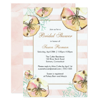 Sand Dollars and Coral Pink Shower Invitation