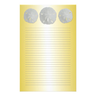 Sand Dollars on Gold Lined Writing Paper