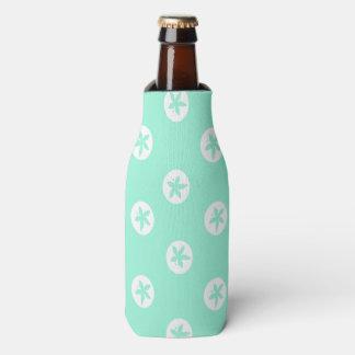 Sand Dollars on Seafoam Bottle Cooler
