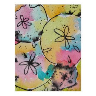 Sand Dollars Watercolor & Ink Painting Postcard