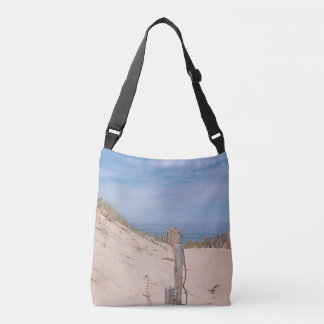 Sand dune and beach fence tote bag