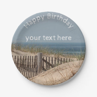 Sand dunes and beach fence 7 inch paper plate
