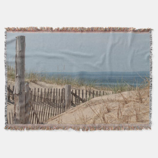 Sand dunes and beach fence at Race Point Throw Blanket