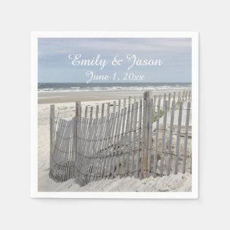 Sand Dunes and Beach Fence Disposable Serviette