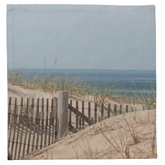 Sand dunes and beach fence printed napkins