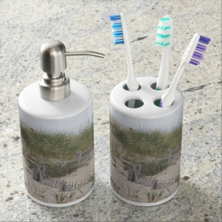 Sand dunes and beach fence soap dispenser and toothbrush holder