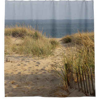 Sand dunes and ocean view shower curtain
